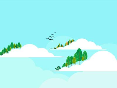 Fantasy Land tree sky cloud flat design designer design