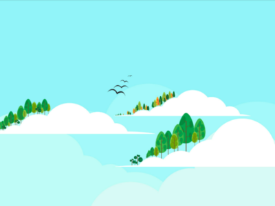 Fantasy Land tree sky cloud flat design designer design