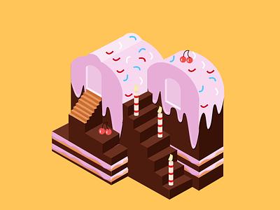 Dessert Castle design ui isometric cake castle dessert