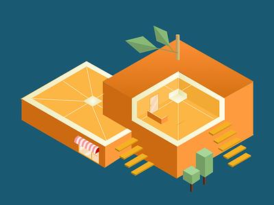 Orange Store illustration 3d icon yellow shop grocery fruit isometric store orange