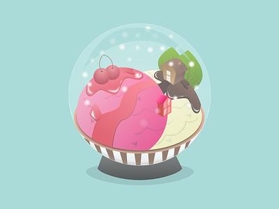 Ice Cream Snow Ball illustration house design isometric ball snow cream ice