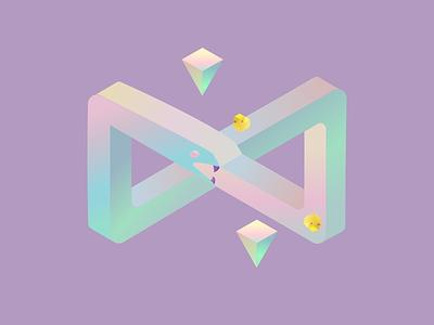 Infinity duck snake inspiration loop illustration design road isometric