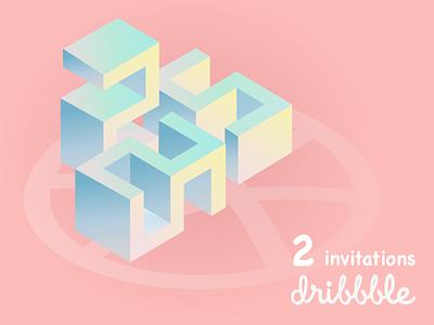 Scored 2 invitations from Dribbble. number isometric giveaway draft invitation invite dribbble hello invites