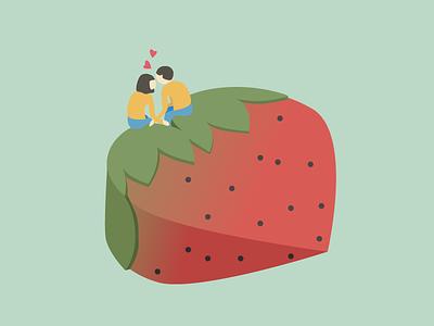 Strawberry Love couple strawberry love icon illustration design isometric