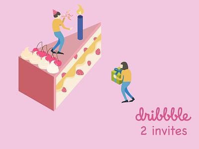 2 Dribbble invite birthday isometric hello illustration cake dribbble giveaway draft invitation invite