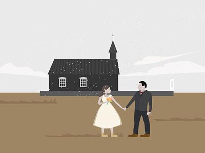 Honeymoon honeymoon ui illustration iceland travel wedding church