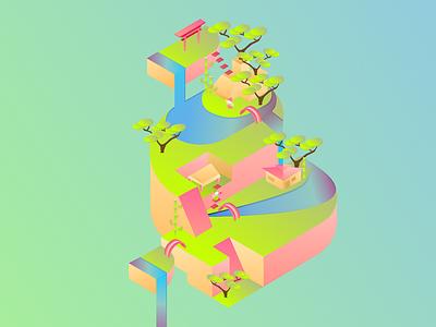 Chinese Garden Maze paradise tree dribbble maze gradient asian chinese garden 3d illustration isometric