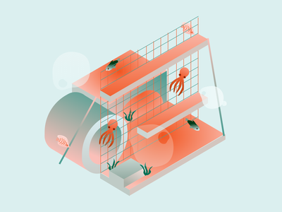 Sea World fish underwater sea ui gradient 3d isometric design illustration