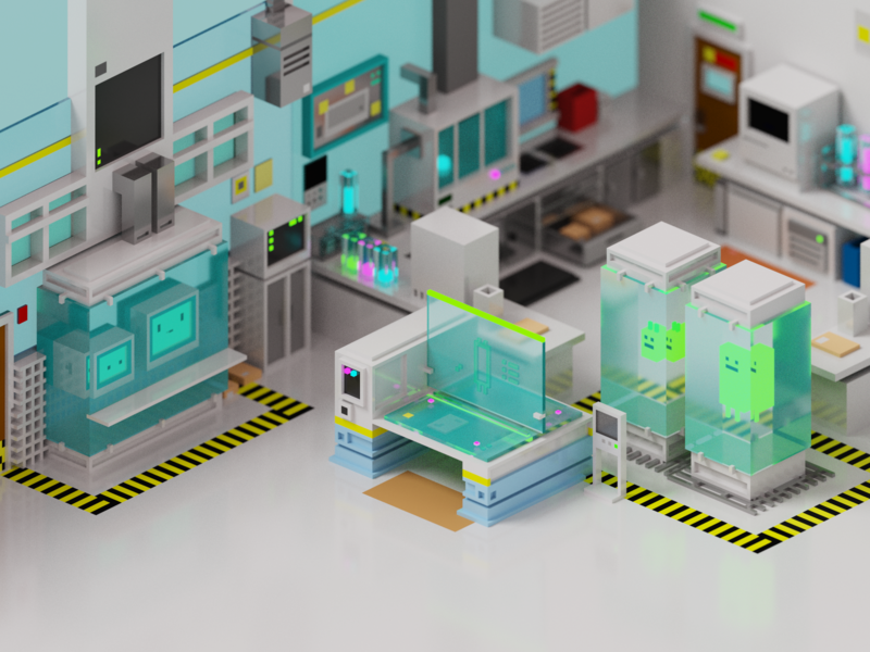 Lab Room render lab scifi room isometric voxel illustration 3d