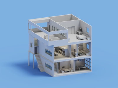 Side View House architecture voxelart minimal house isometric voxel 3d illustration
