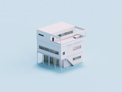 Frames architecture house voxel 3d illustration