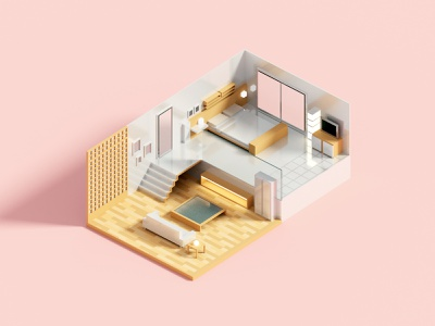 Compact Room minimal interior house isometric voxel 3d illustration
