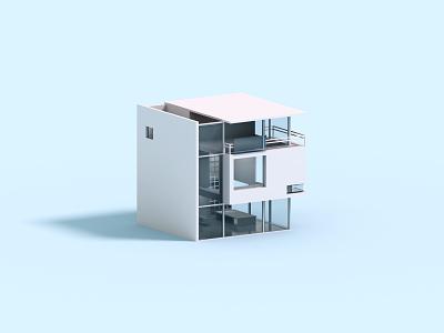 Cubic voxelart minimal house isometric voxel 3d illustration