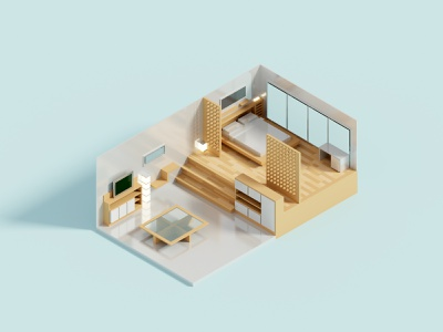 Compact Room II room interior house isometric voxel 3d illustration