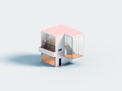 Madera voxelart minimal house voxel 3d illustration