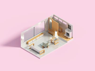Compact room III minimal interior voxelart voxel 3d illustration