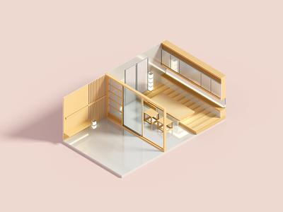 Kanso 3d interior room isometric voxel illustration