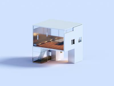 Nook render architecture voxel house 3d illustration