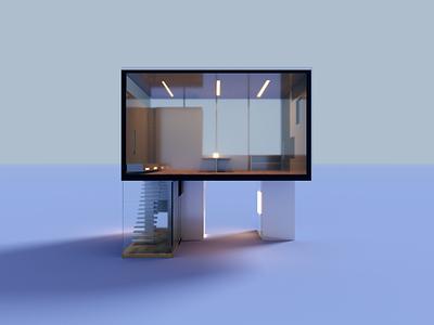 Front architecture minimal house voxel 3d illustration