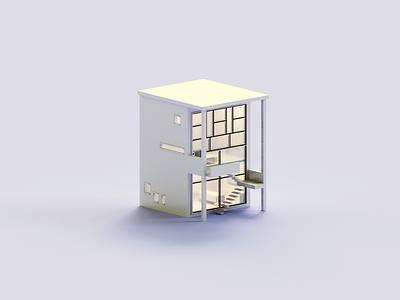 Frames architecture minimal house voxel 3d illustration