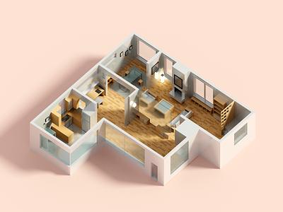 Floor Plan 3 architecture floorplan house voxel 3d illustration