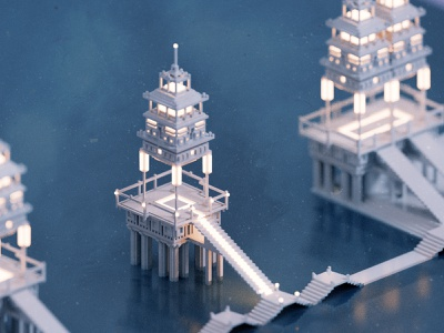 Temple II magicavoxel render water temple voxel 3d illustration