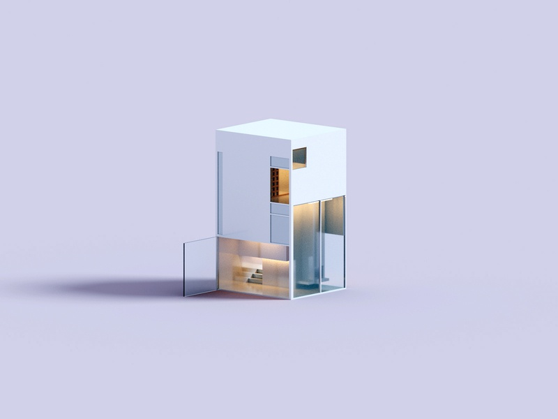 Forms architecture house voxel 3d illustration
