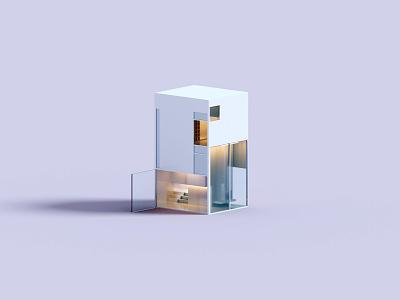 Forms architecture house voxel 3d illustration