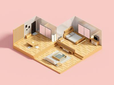 Hybrid room architecture room render minimal isometric voxel 3d illustration
