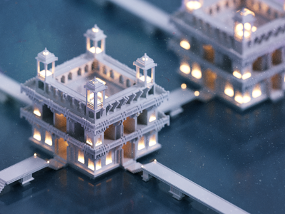 Bridge bridge render voxelart temple voxel 3d illustration