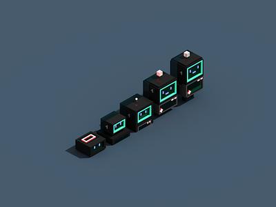 Dark magicavoxel render robot voxel 3d illustration