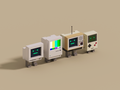 Retro voxelart gameboy computer pc mac retro render voxel 3d illustration