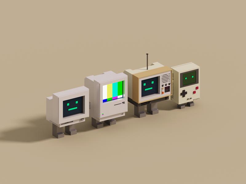 Retro voxelart gameboy computer pc mac retro render voxel 3d illustration