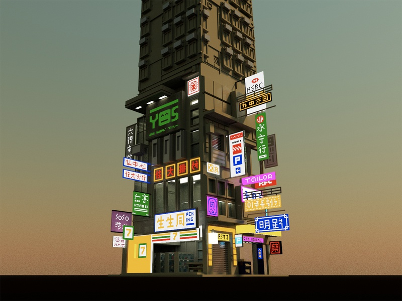 Hong Kong dusk city skyscraper hongkong voxelart 3d voxel illustration