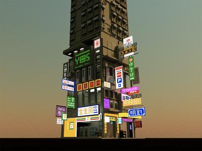 Hong Kong dusk city skyscraper hongkong voxelart 3d voxel illustration