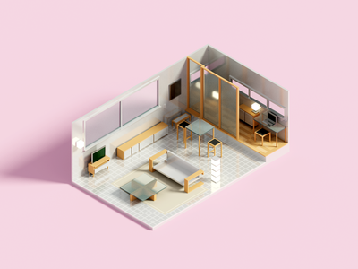 Grid interior minimal voxel voxelart render isometric illustration 3d