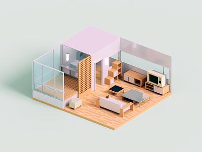 Micro Apartment interior room minimal render voxel 3d illustration