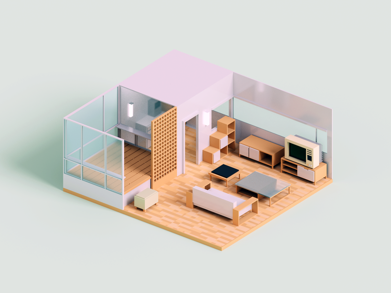 Micro Apartment interior room minimal render voxel 3d illustration