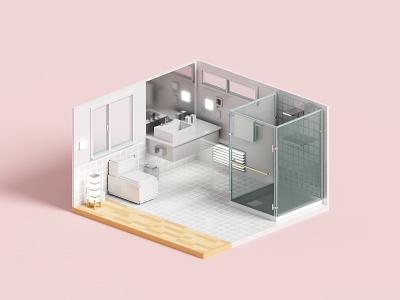 Washroom bathroom toilet washroom voxelart render minimal voxel 3d illustration