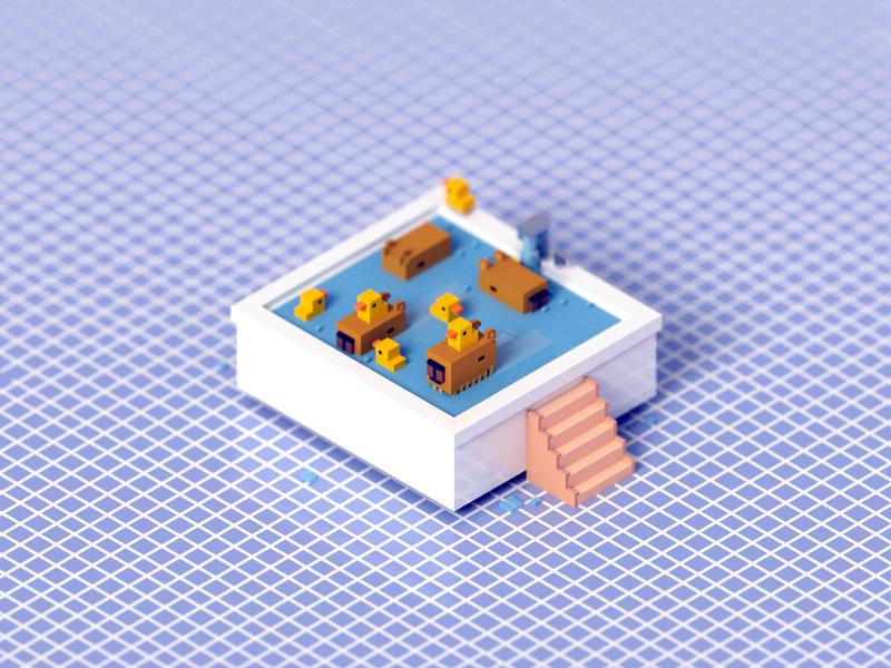 Capybara Bathtub voxelart render animal voxel bathtub bath duck capybara 3d illustration