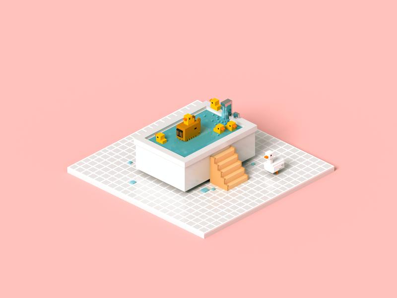 Ducklings capybara duck bathtub animal voxelart render isometric voxel 3d illustration