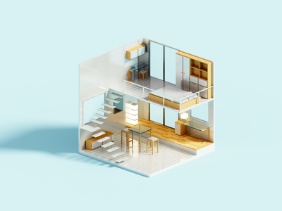 Double render voxelart minimal interior voxel 3d illustration