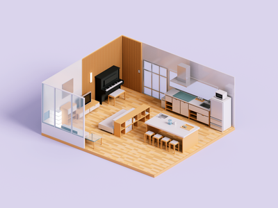 Living Room architecture voxelart render minimal voxel 3d illustration