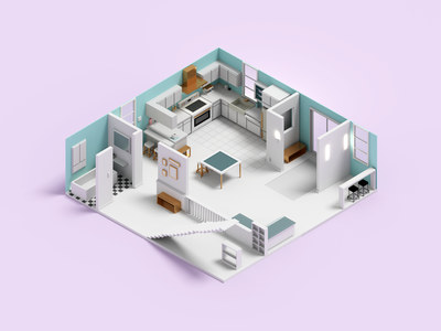 Remodel room render 3d voxelart voxel kitchen