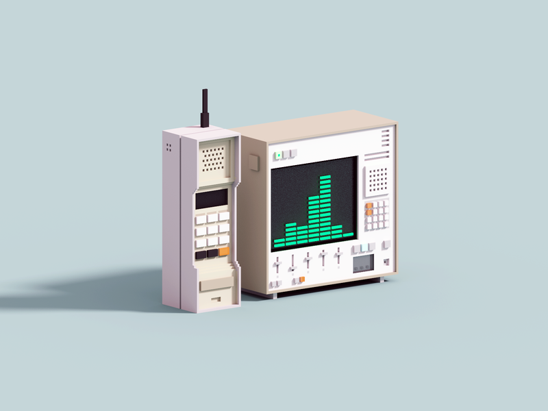 Retro Tech retro synthesizer synth phone voxelart render voxel 3d illustration