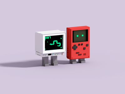 Games gameboy color game computer gameboy voxelart render voxel 3d illustration