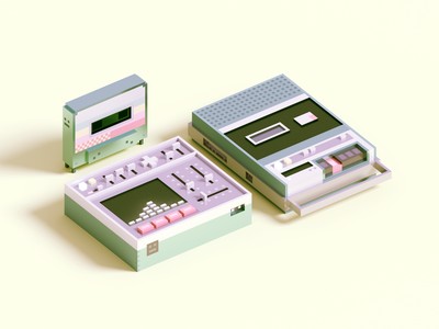 Pastel Music Objects synth cassette player cassette render voxel 3d illustration
