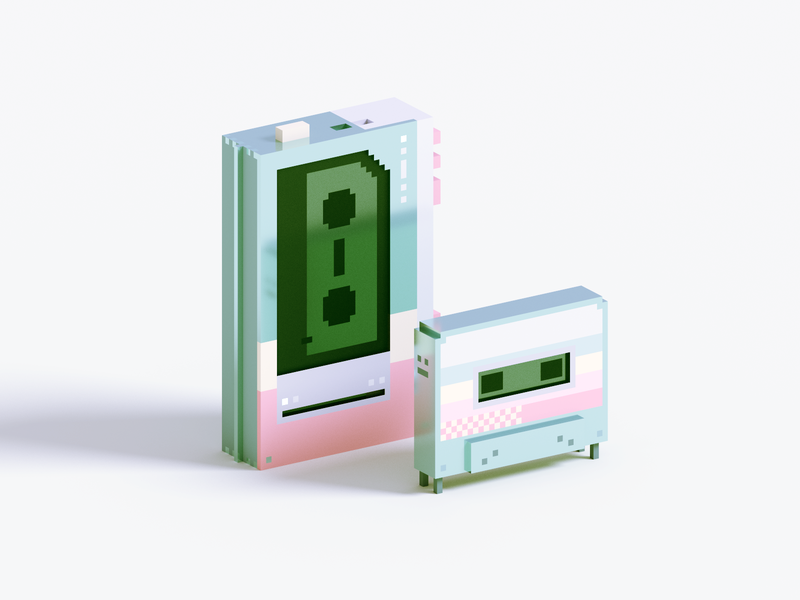 Cassette tape pastel cassette render voxel 3d illustration