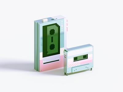 Cassette tape pastel cassette render voxel 3d illustration