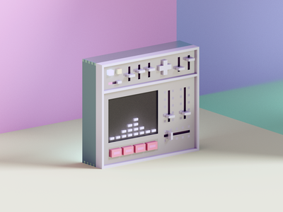 Synth synth render voxel 3d illustration
